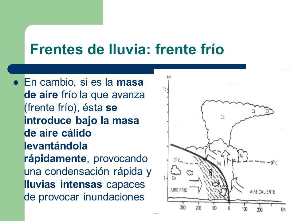 Frentes de lluvia: frente frío En cambio, si es la masa de aire frío la que avanza (frente frío), ésta se introduce bajo la masa de aire cálido levant