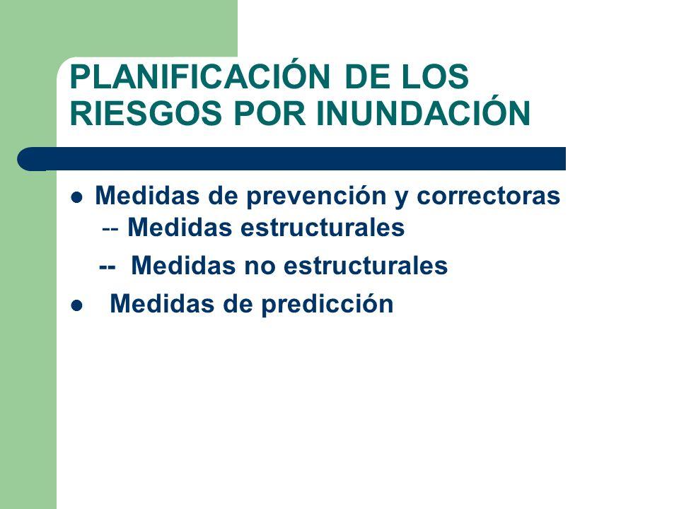 PLANIFICACIÓN DE LOS RIESGOS POR INUNDACIÓN Medidas de prevención y correctoras -- Medidas estructurales -- Medidas no estructurales Medidas de predic