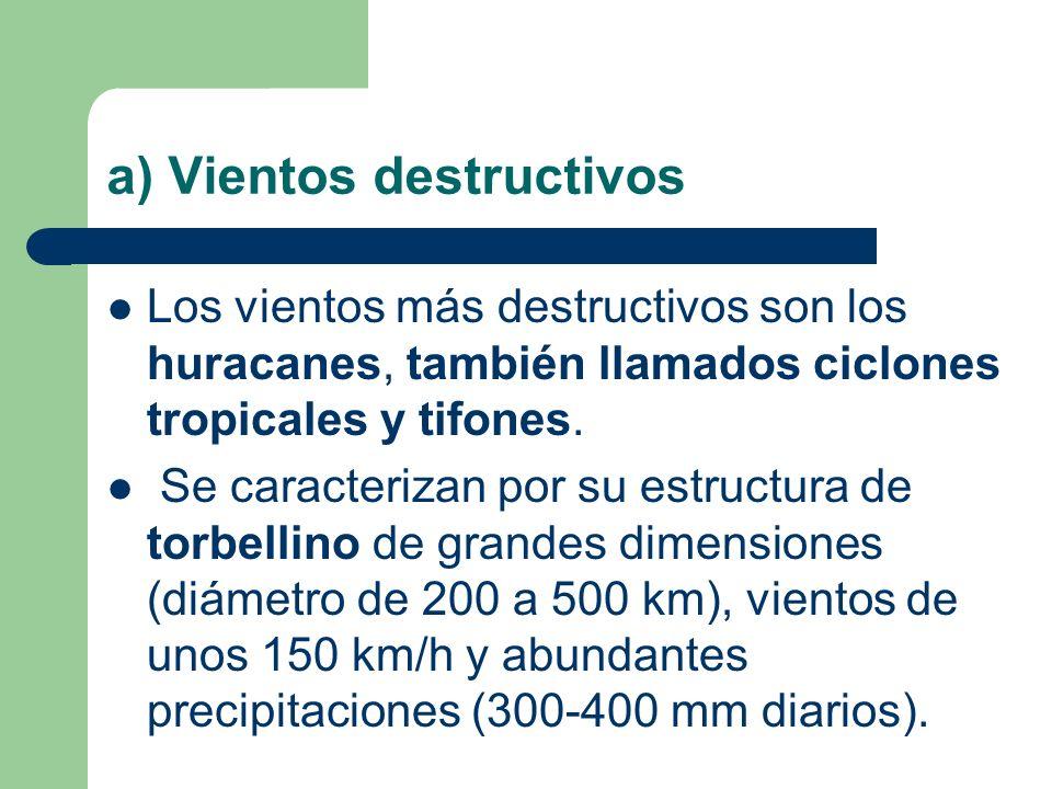 a) Vientos destructivos Los vientos más destructivos son los huracanes, también llamados ciclones tropicales y tifones. Se caracterizan por su estruct