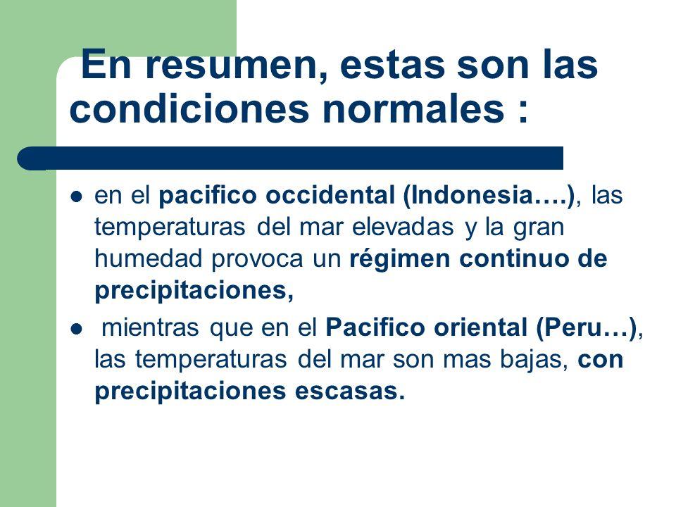 En resumen, estas son las condiciones normales : en el pacifico occidental (Indonesia….), las temperaturas del mar elevadas y la gran humedad provoca