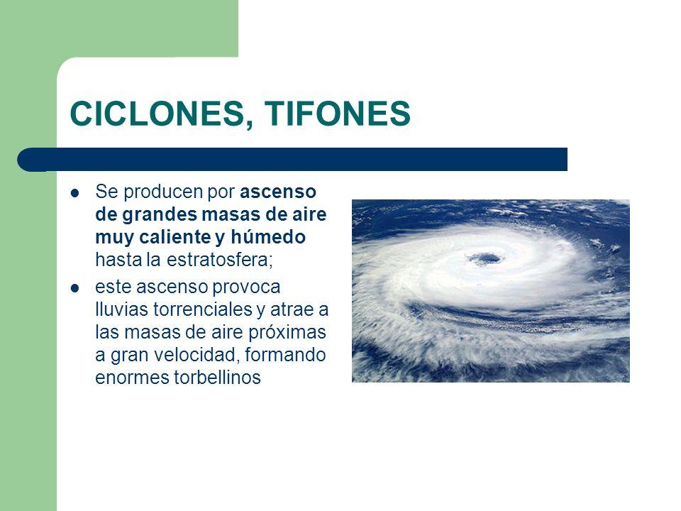 CICLONES, TIFONES Se producen por ascenso de grandes masas de aire muy caliente y húmedo hasta la estratosfera; este ascenso provoca lluvias torrencia