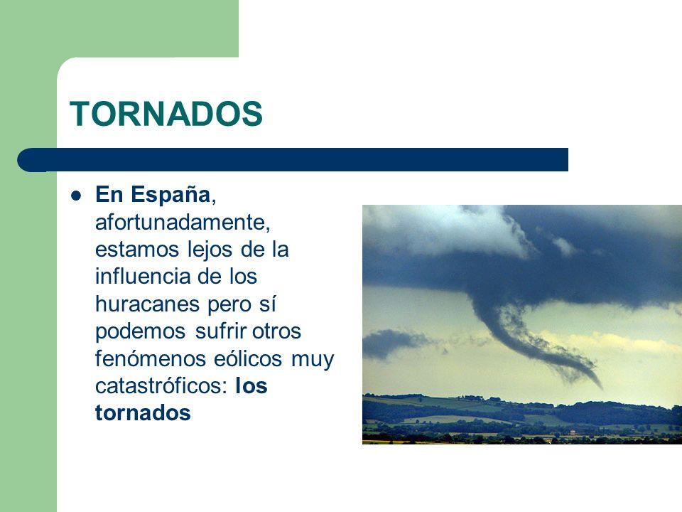 TORNADOS EN ESPAÑA También tienen el aspecto de un torbellino pero sus dimensiones son mucho menores que los ciclones: el diámetro del tornado es de 50-100 metros, y suelen ser fenómenos locales de corta duración.