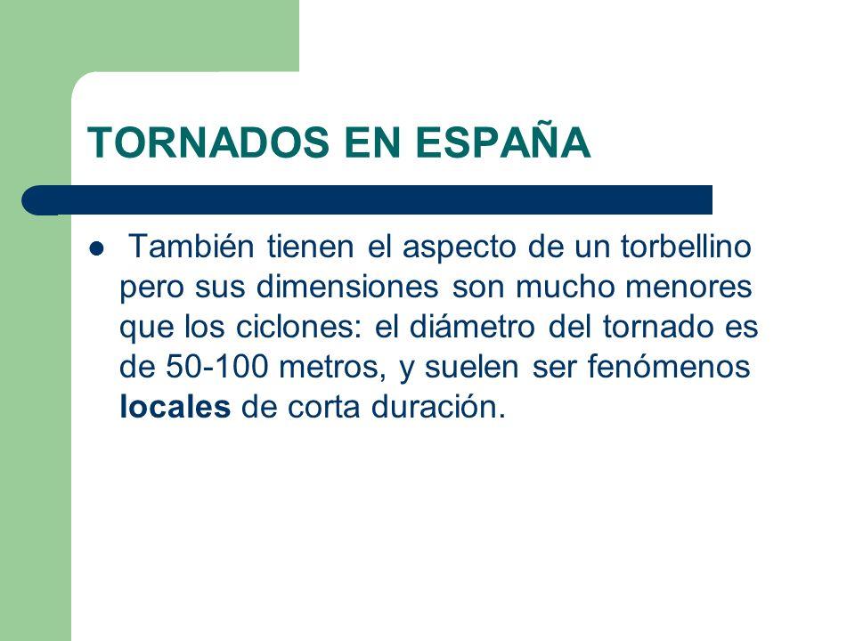 TORNADOS EN ESPAÑA También tienen el aspecto de un torbellino pero sus dimensiones son mucho menores que los ciclones: el diámetro del tornado es de 5