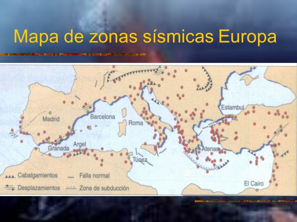 Mapa de zonas sísmicas Europa