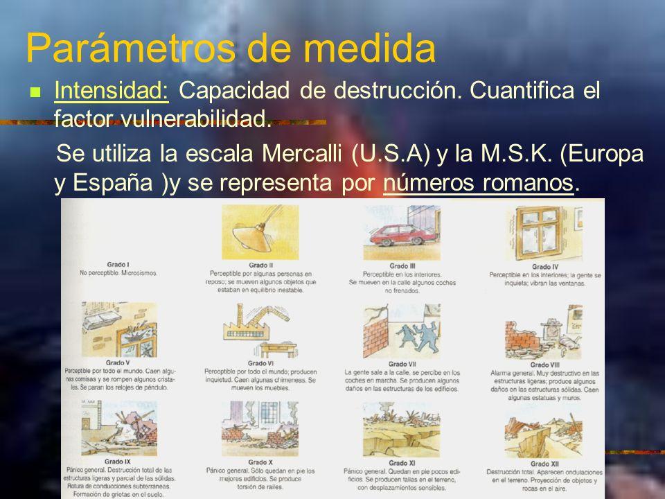 Parámetros de medida Intensidad: Capacidad de destrucción. Cuantifica el factor vulnerabilidad. Se utiliza la escala Mercalli (U.S.A) y la M.S.K. (Eur