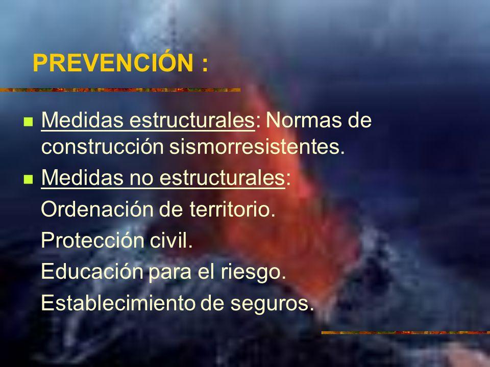 PREVENCIÓN : Medidas estructurales: Normas de construcción sismorresistentes. Medidas no estructurales: Ordenación de territorio. Protección civil. Ed