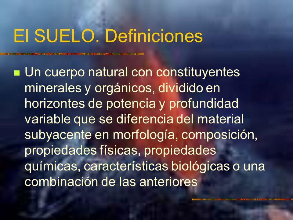 El SUELO. Definiciones Un cuerpo natural con constituyentes minerales y orgánicos, dividido en horizontes de potencia y profundidad variable que se di