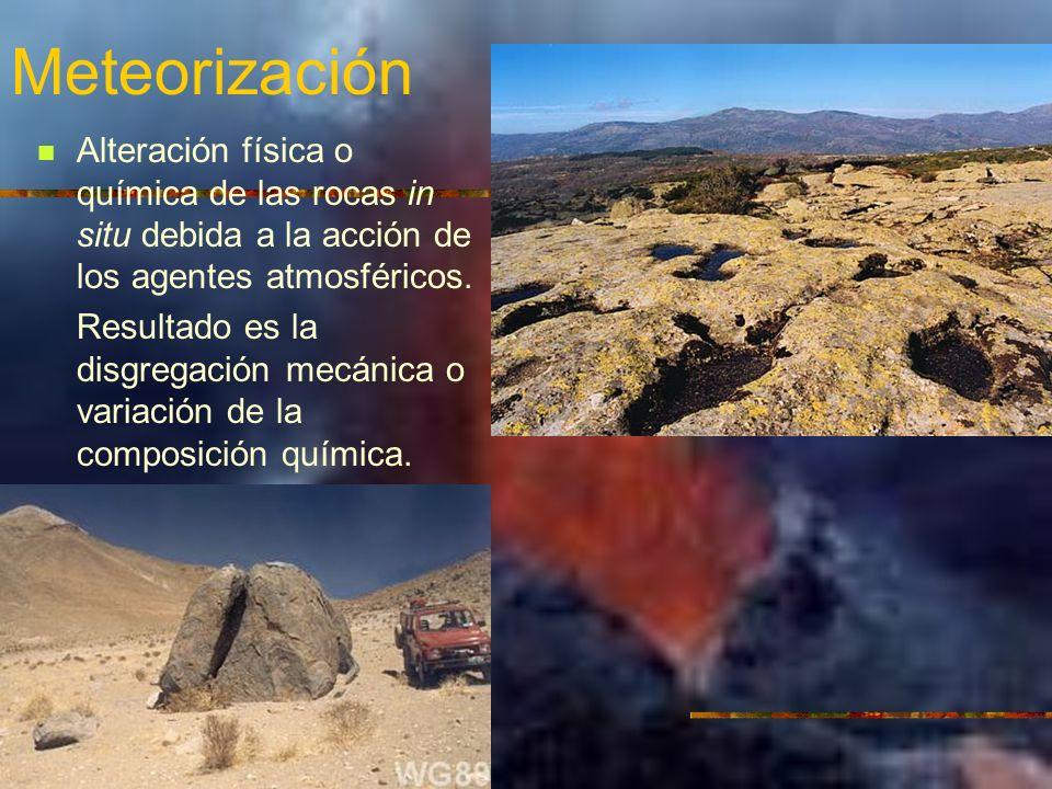 Meteorización Alteración física o química de las rocas in situ debida a la acción de los agentes atmosféricos. Resultado es la disgregación mecánica o