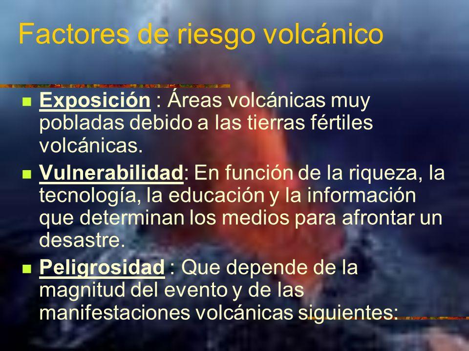 Factores de riesgo volcánico Exposición : Áreas volcánicas muy pobladas debido a las tierras fértiles volcánicas. Vulnerabilidad: En función de la riq