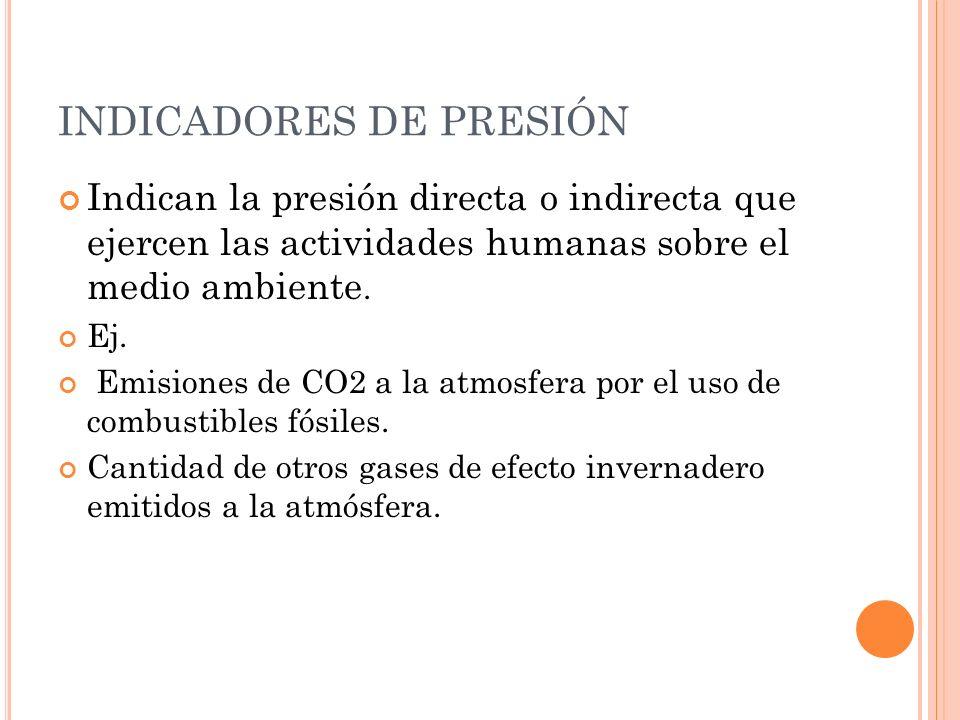 INDICADORES DE ESTADO Indican los efectos derivados de la presión concreta sobre la calidad del medio.