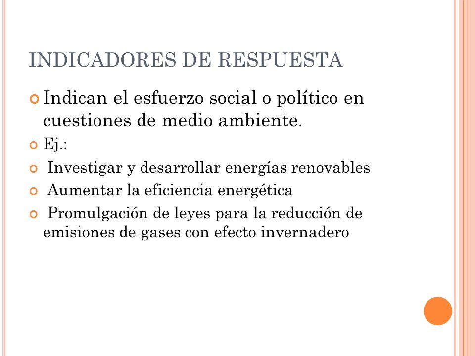 PROBLEMA AMBIENTAL: CAMBIO CLIMATICO Indicadores de presión CANTIDAD DE CO2 OTROS GASES CON EFECTO INVERNADERO Indicadores de estado CONCENTRACION DE CO2 AUMENTO DE Tª GLOBAL Indicadores de respuesta DESARROLLAR RENOVABLES AUMENTAR EFICIENCIA ENERGETICA LEGISLACION