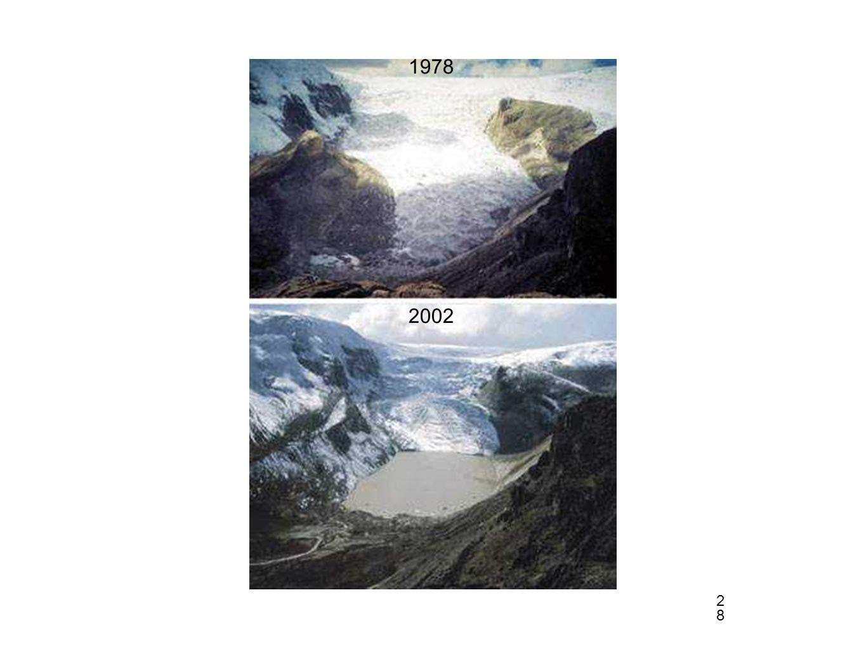 28 2002 1978 Qori Kalis Glaciar (parte del tropical Quelccaya ice cap, Peru)