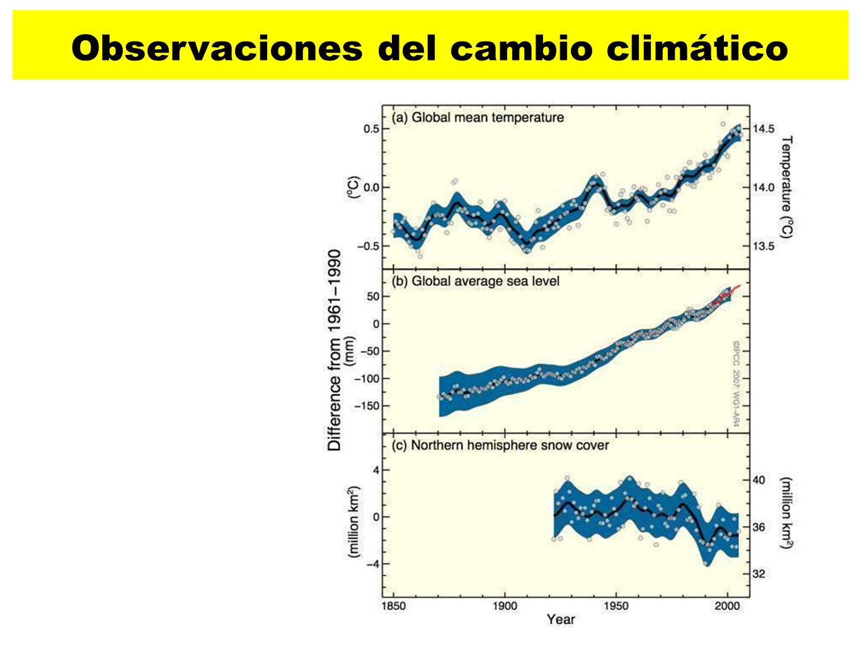 27 Temperatura global Nivel medio del mar Cubierta de hielo del hemisferio Norte Observaciones del cambio climático