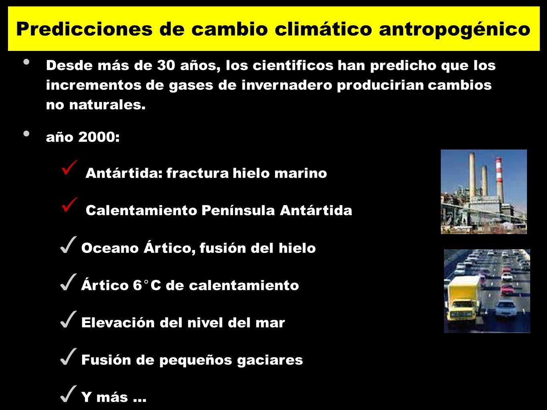 Desde más de 30 años, los cientificos han predicho que los incrementos de gases de invernadero producirian cambios no naturales. año 2000: Antártida: