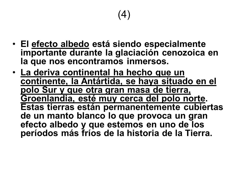 (4) El efecto albedo está siendo especialmente importante durante la glaciación cenozoica en la que nos encontramos inmersos. La deriva continental ha