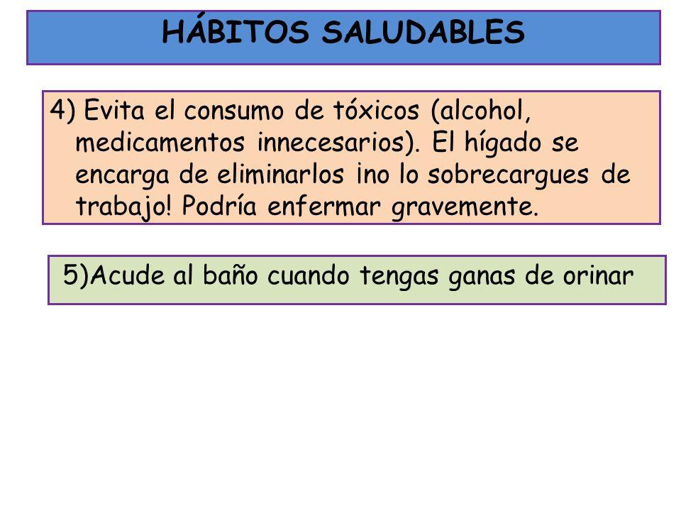 4) Evita el consumo de tóxicos (alcohol, medicamentos innecesarios). El hígado se encarga de eliminarlos ¡no lo sobrecargues de trabajo! Podría enferm