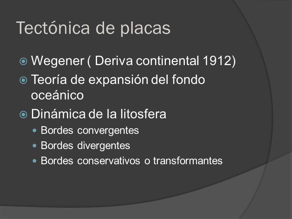 Tectónica de placas Wegener ( Deriva continental 1912) Teoría de expansión del fondo oceánico Dinámica de la litosfera Bordes convergentes Bordes dive