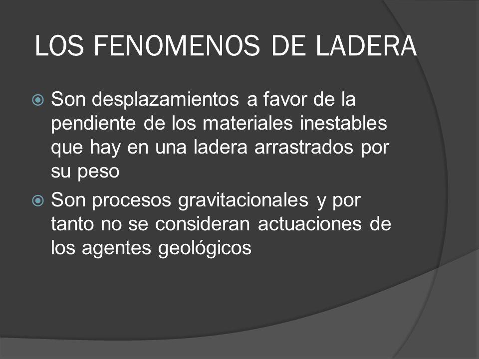 LOS FENOMENOS DE LADERA Son desplazamientos a favor de la pendiente de los materiales inestables que hay en una ladera arrastrados por su peso Son pro