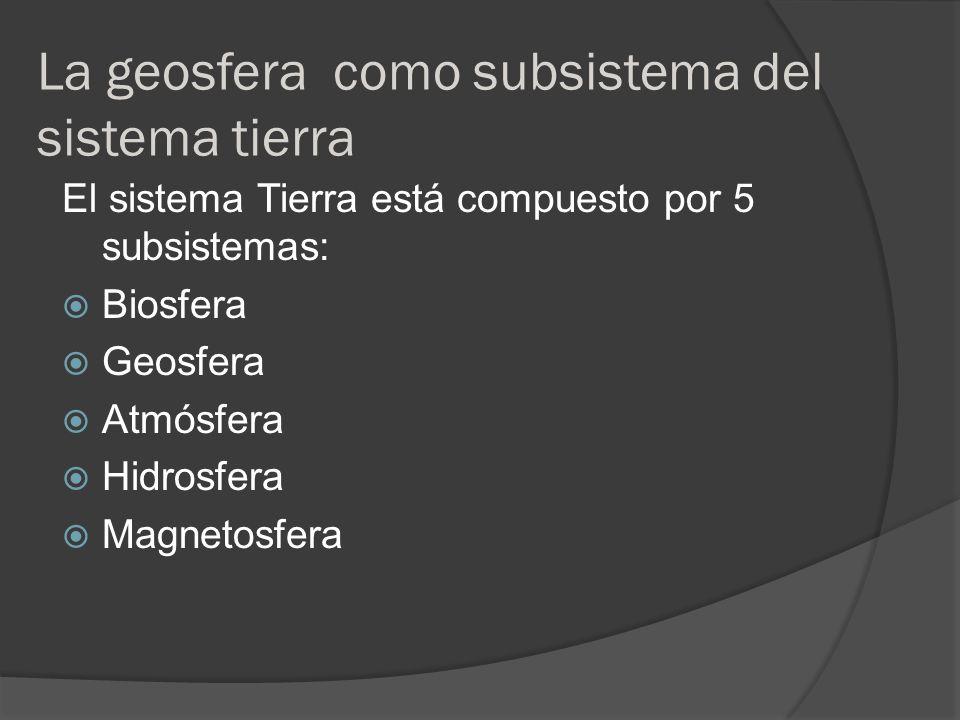 La geosfera como subsistema del sistema tierra El sistema Tierra está compuesto por 5 subsistemas: Biosfera Geosfera Atmósfera Hidrosfera Magnetosfera
