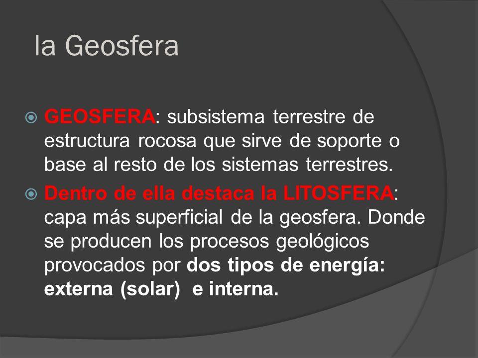 la Geosfera GEOSFERA: subsistema terrestre de estructura rocosa que sirve de soporte o base al resto de los sistemas terrestres. Dentro de ella destac