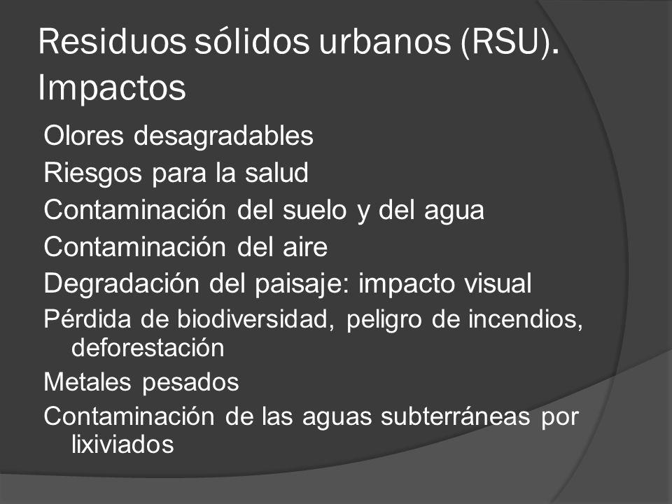 Residuos sólidos urbanos (RSU). Impactos Olores desagradables Riesgos para la salud Contaminación del suelo y del agua Contaminación del aire Degradac