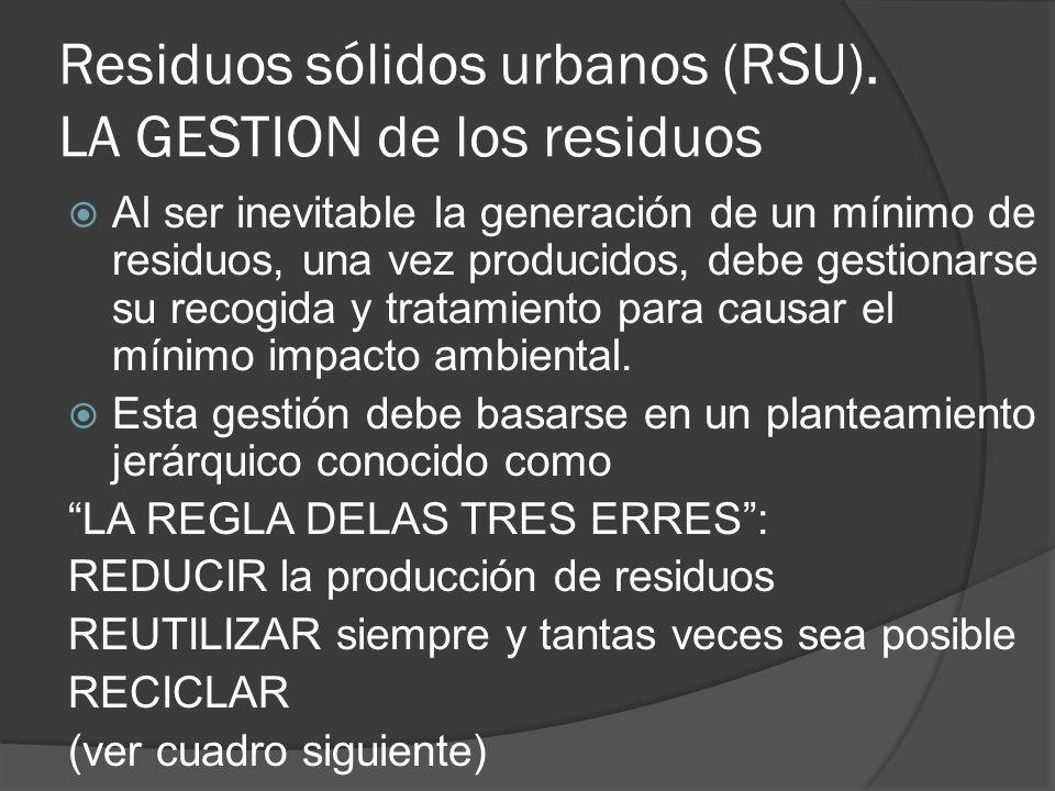 Residuos sólidos urbanos (RSU). LA GESTION de los residuos Al ser inevitable la generación de un mínimo de residuos, una vez producidos, debe gestiona
