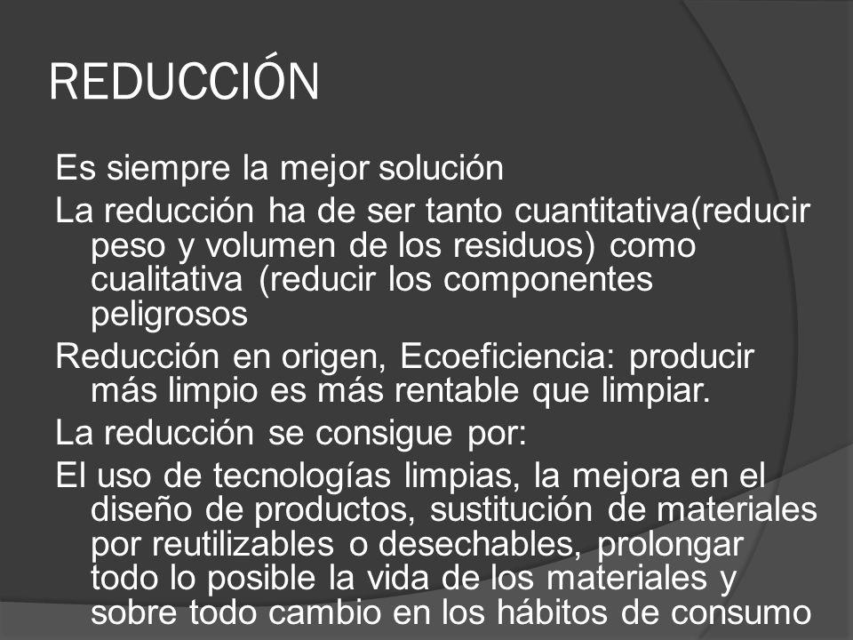 REDUCCIÓN Es siempre la mejor solución La reducción ha de ser tanto cuantitativa(reducir peso y volumen de los residuos) como cualitativa (reducir los