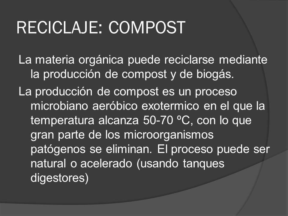 RECICLAJE: COMPOST La materia orgánica puede reciclarse mediante la producción de compost y de biogás. La producción de compost es un proceso microbia