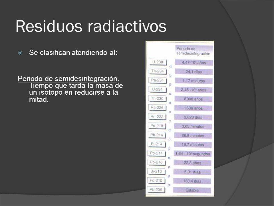 Residuos radiactivos Se clasifican atendiendo al: Periodo de semidesintegración. Tiempo que tarda la masa de un isótopo en reducirse a la mitad.