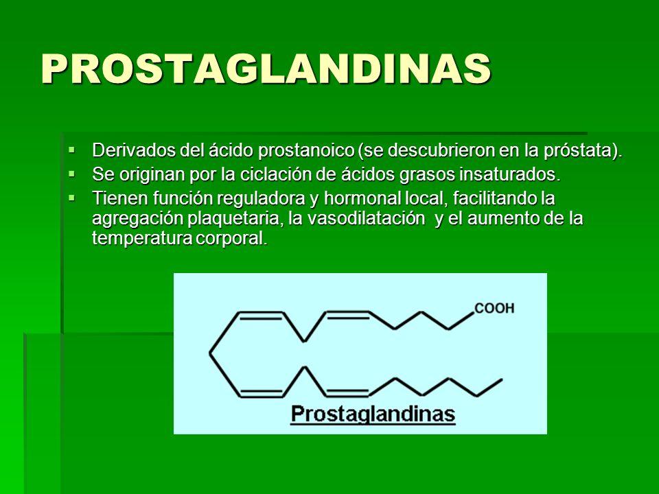 PROSTAGLANDINAS Derivados del ácido prostanoico (se descubrieron en la próstata). Derivados del ácido prostanoico (se descubrieron en la próstata). Se