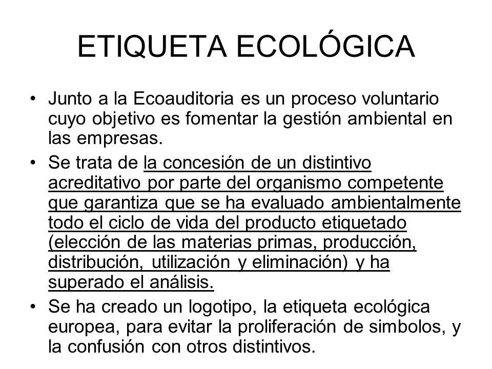 ETIQUETA ECOLÓGICA Junto a la Ecoauditoria es un proceso voluntario cuyo objetivo es fomentar la gestión ambiental en las empresas. Se trata de la con