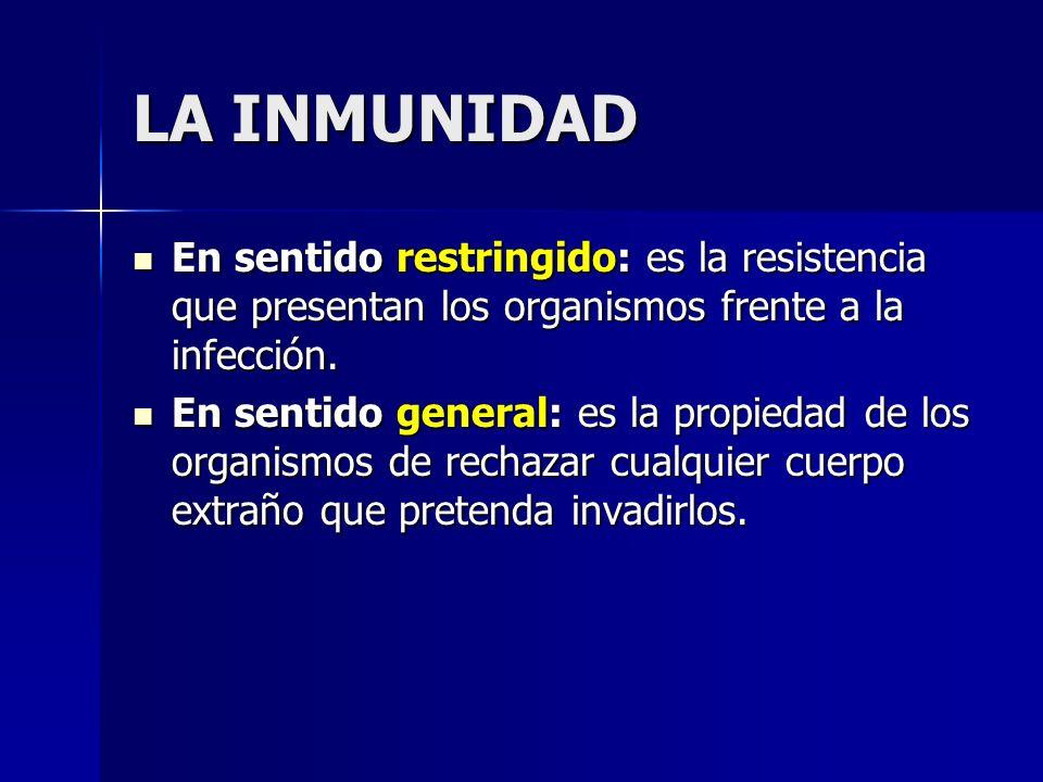 LA INMUNIDAD En sentido restringido: es la resistencia que presentan los organismos frente a la infección. En sentido restringido: es la resistencia q