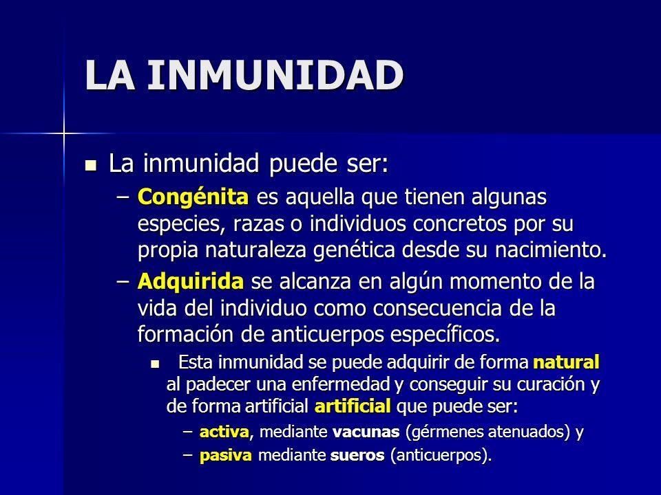 La inmunidad puede ser: La inmunidad puede ser: –Congénita es aquella que tienen algunas especies, razas o individuos concretos por su propia naturale