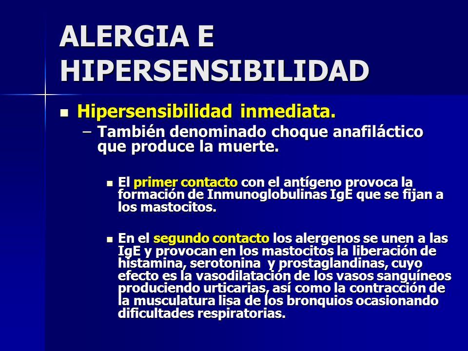 ALERGIA E HIPERSENSIBILIDAD Hipersensibilidad inmediata. Hipersensibilidad inmediata. –También denominado choque anafiláctico que produce la muerte. E