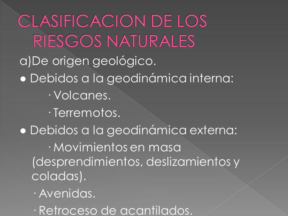 La mayoría de las víctimas asociadas a riesgos son debidas a inundaciones, que son riesgos naturales ; los terremotos y los volcanes también son riesg