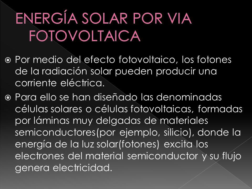 Las células solares se instalan sobre PANELES FOTOVOLTAICOS conectadas en serie o en paralelo de forma que la tensión se ajuste al valor deseado.