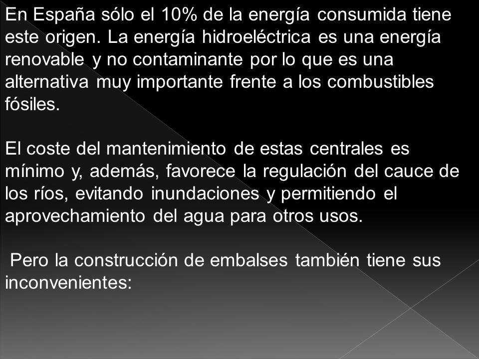 En España sólo el 10% de la energía consumida tiene este origen. La energía hidroeléctrica es una energía renovable y no contaminante por lo que es un