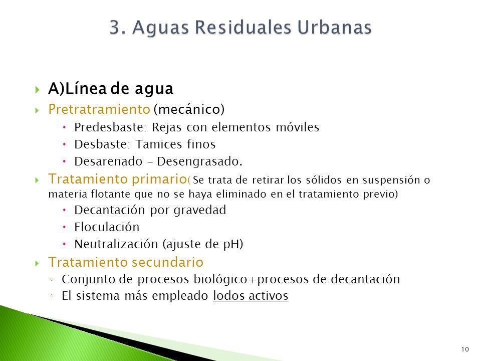 A)Línea de agua Pretratramiento (mecánico) Predesbaste: Rejas con elementos móviles Desbaste: Tamices finos Desarenado – Desengrasado. Tratamiento pri
