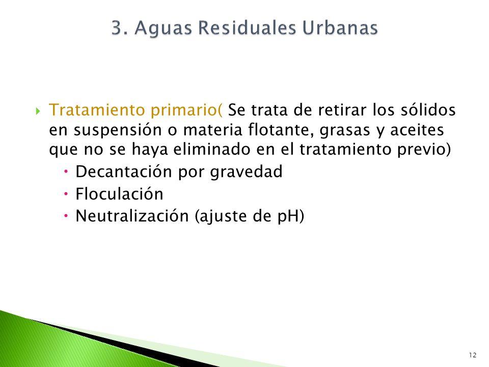 Tratamiento primario( Se trata de retirar los sólidos en suspensión o materia flotante, grasas y aceites que no se haya eliminado en el tratamiento pr