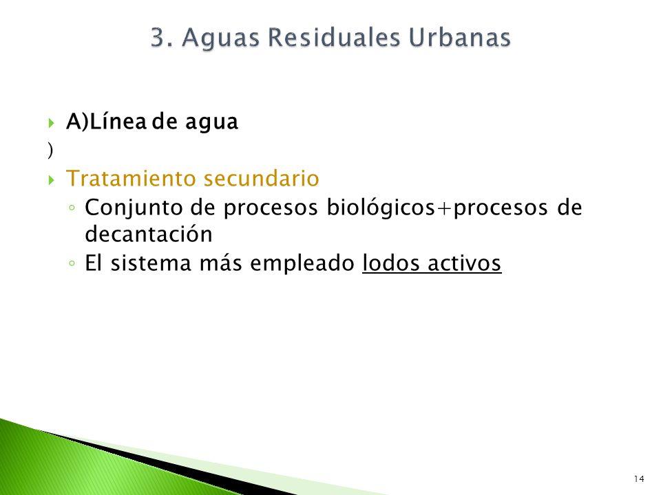 A)Línea de agua ) Tratamiento secundario Conjunto de procesos biológicos+procesos de decantación El sistema más empleado lodos activos 3. Aguas Residu