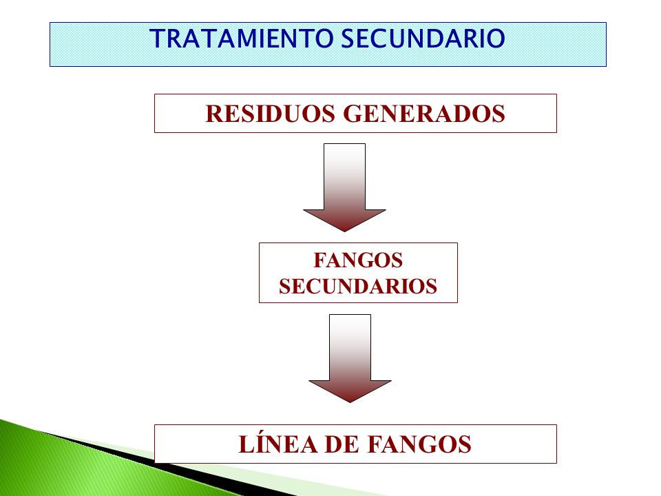 TRATAMIENTO SECUNDARIO RESIDUOS GENERADOS FANGOS SECUNDARIOS LÍNEA DE FANGOS