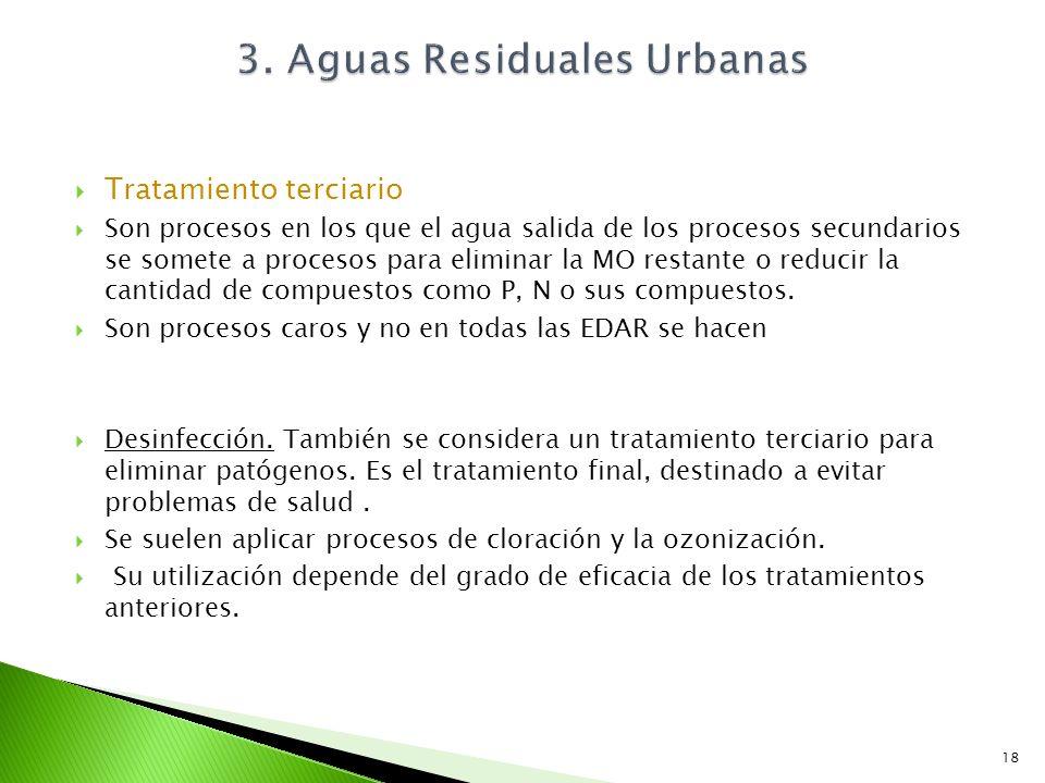 Tratamiento terciario Son procesos en los que el agua salida de los procesos secundarios se somete a procesos para eliminar la MO restante o reducir l