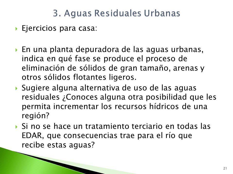 Ejercicios para casa: En una planta depuradora de las aguas urbanas, indica en qué fase se produce el proceso de eliminación de sólidos de gran tamaño
