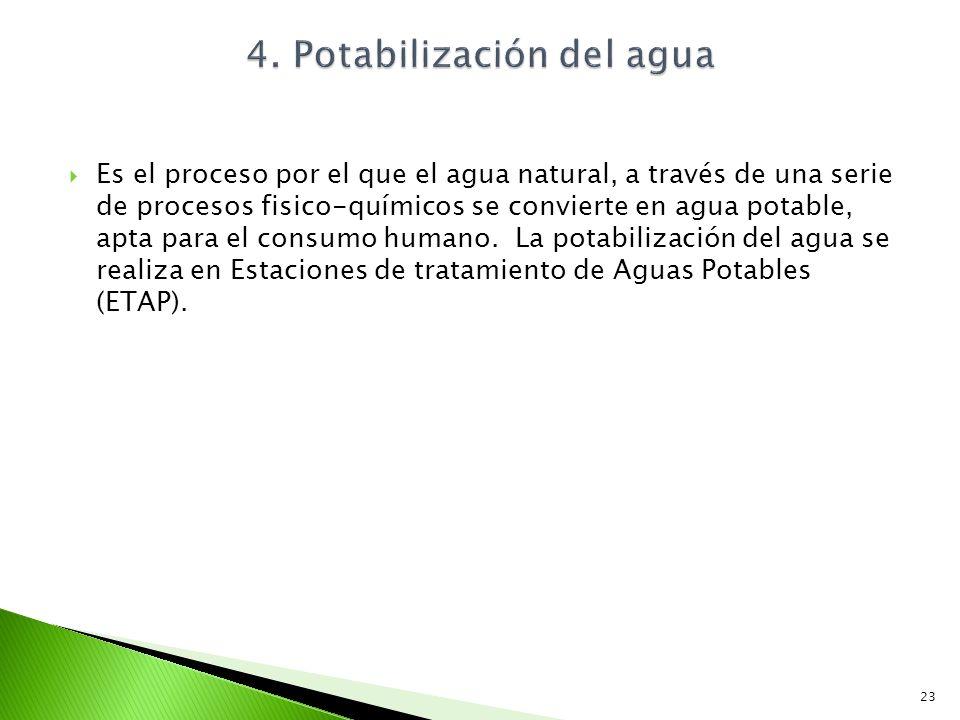 Es el proceso por el que el agua natural, a través de una serie de procesos fisico-químicos se convierte en agua potable, apta para el consumo humano.
