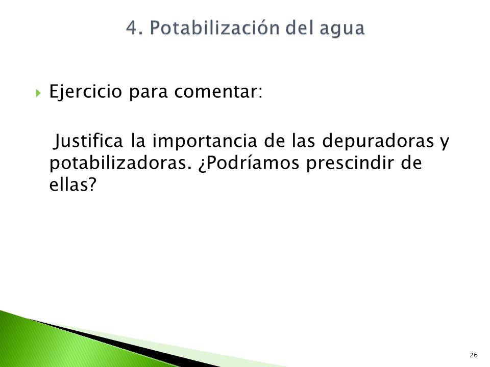 Ejercicio para comentar: Justifica la importancia de las depuradoras y potabilizadoras. ¿Podríamos prescindir de ellas? 26