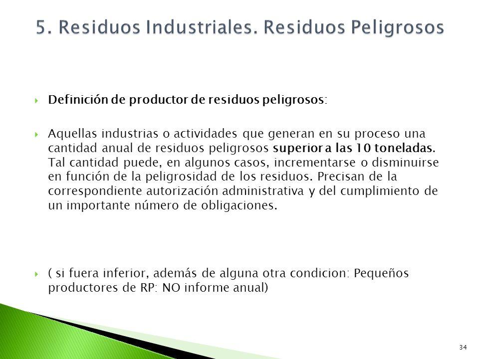 Definición de productor de residuos peligrosos: Aquellas industrias o actividades que generan en su proceso una cantidad anual de residuos peligrosos