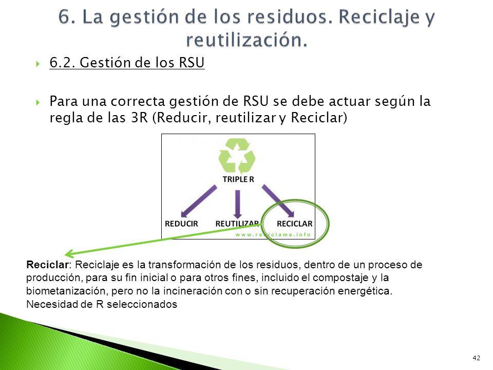6.2. Gestión de los RSU Para una correcta gestión de RSU se debe actuar según la regla de las 3R (Reducir, reutilizar y Reciclar) 42 Reciclar: Recicla