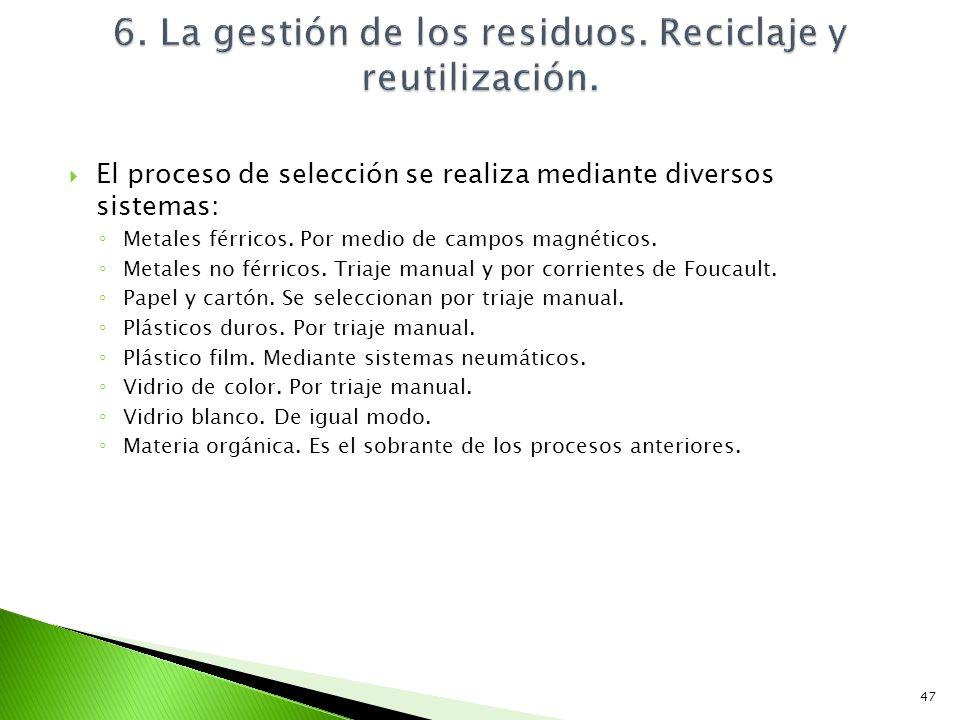 El proceso de selección se realiza mediante diversos sistemas: Metales férricos. Por medio de campos magnéticos. Metales no férricos. Triaje manual y