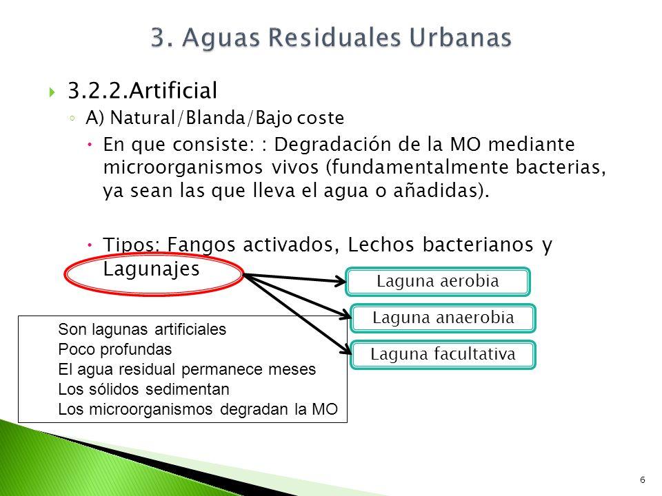 3.2.2.Artificial A) Natural/Blanda/Bajo coste En que consiste: : Degradación de la MO mediante microorganismos vivos (fundamentalmente bacterias, ya s