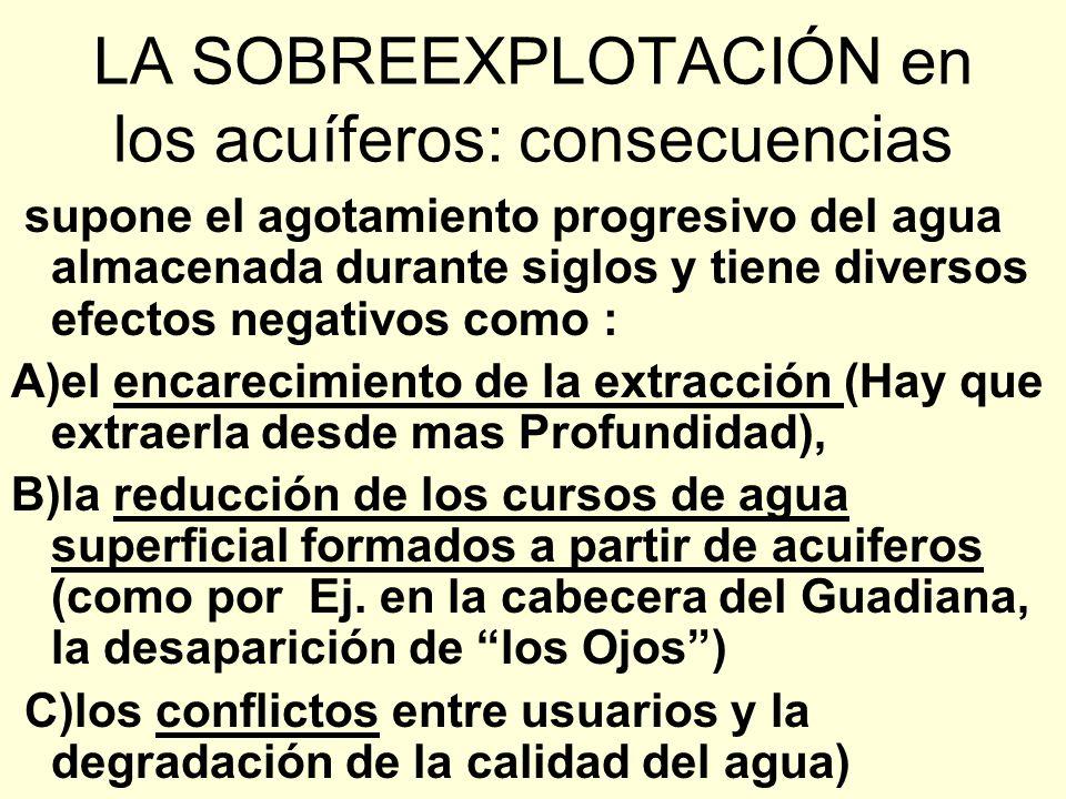Sobreexplotación de las aguas superficiales: consecuencias 1) disminución del caudal de los ríos 2) disminución y, a veces desaparición, de lagos, lag